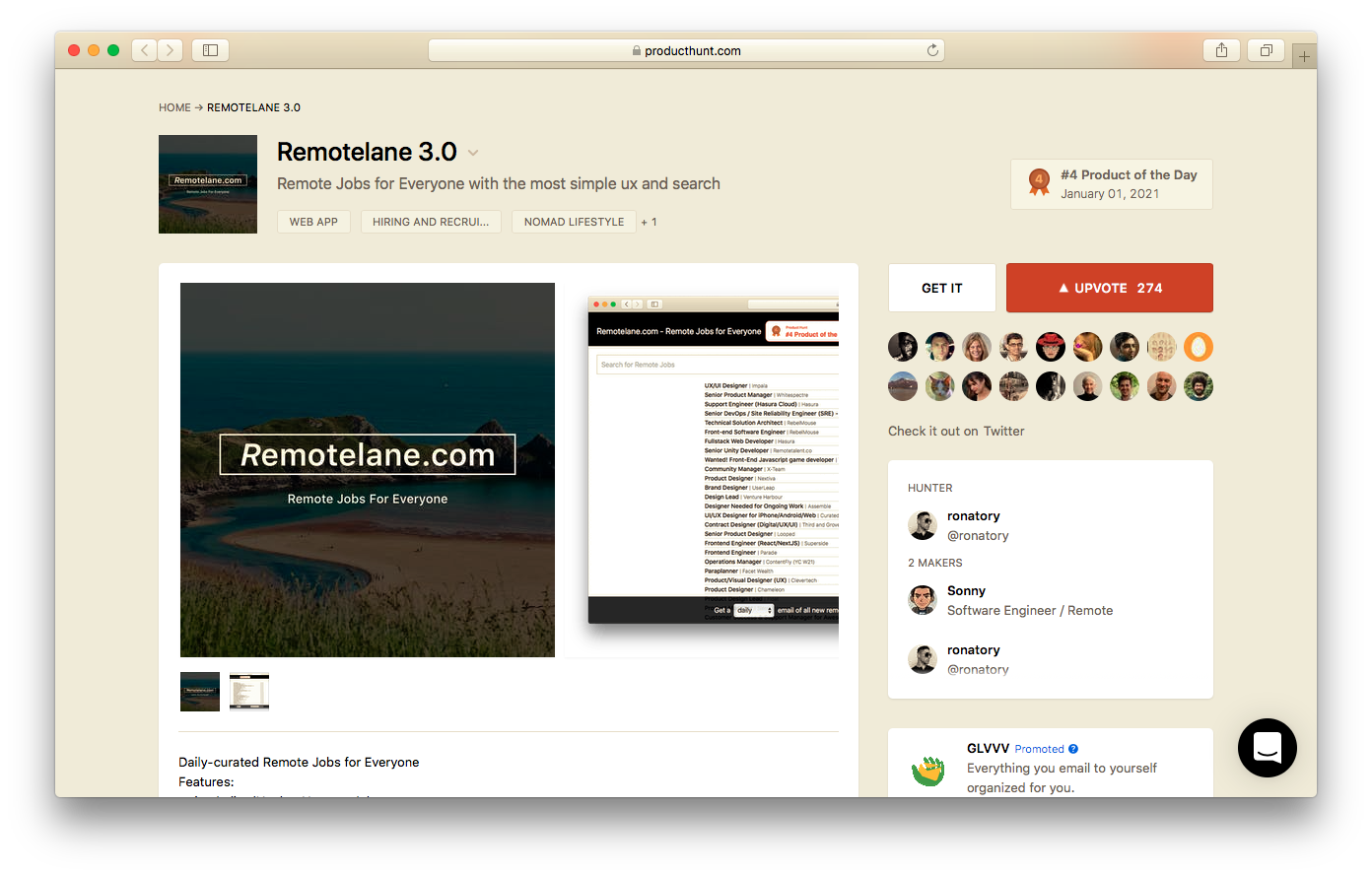 Remotelane.com featured on Product Hunt